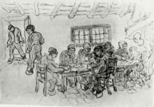 """Копия картины """"sheet with two groups of peasants at a meal"""" художника """"ван гог винсент"""""""