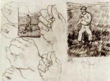 """Картина """"sheet with two sowers and hands"""" художника """"ван гог винсент"""""""