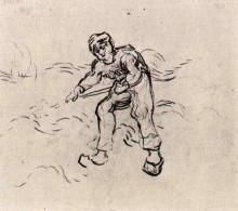 """Репродукция картины """"Sketch of a Peasant Working"""" художника """"Ван Гог Винсент"""""""