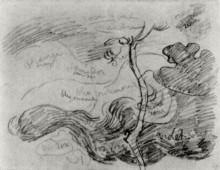 "Репродукция картины ""Sketch of a Tree against Clouds with Colour Annotations"" художника ""Ван Гог Винсент"""