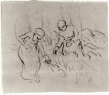 "Репродукция картины ""sketch of women in a field"" художника ""ван гог винсент"""