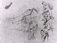 "Копия картины ""Sketches of a Cottage and Figures"" художника ""Ван Гог Винсент"""