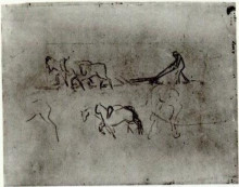 "Репродукция картины ""Sketches of Peasant Plowing with Horses"" художника ""Ван Гог Винсент"""