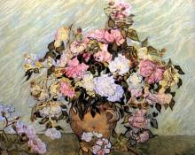 """Репродукция картины """"still life vase with roses"""" художника """"ван гог винсент"""""""