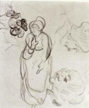 """Картина """"Study of a Woman Standing, Two Heads, Another Figure"""" художника """"Ван Гог Винсент"""""""