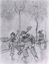 "Репродукция картины ""three peasants with spades on a road in the rain"" художника ""ван гог винсент"""