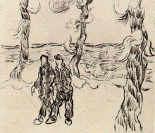 "Репродукция картины ""two men on a road with pine trees"" художника ""ван гог винсент"""