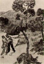 "Копия картины ""Two Men Walking in a Landscape with Trees"" художника ""Ван Гог Винсент"""