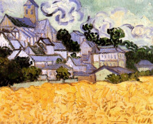 "Репродукция картины ""View of Auvers with Church"" художника ""Ван Гог Винсент"""