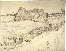 """Репродукция картины """"Wheat Field with a Stack of Wheat or Hay"""" художника """"Ван Гог Винсент"""""""