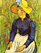 """Картина """"young peasant girl in a straw hat sitting in front of a wheatfield"""" художника """"ван гог винсент"""""""
