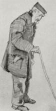 """Репродукция картины """"orphan man with cap and walking stick"""" художника """"ван гог винсент"""""""