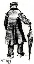 "Репродукция картины ""Orphan Man with Long Overcoat and Umbrella, Seen from the Back 2"" художника ""Ван Гог Винсент"""