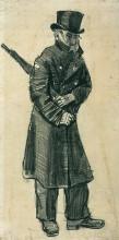 """Репродукция картины """"orphan man with top hat and umbrella under his arm"""" художника """"ван гог винсент"""""""