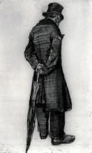 "Картина ""orphan man with umbrella, seen from the back"" художника ""ван гог винсент"""