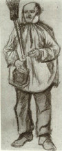 """Репродукция картины """"orphan man, wearing a blouse, with broom and pipe"""" художника """"ван гог винсент"""""""