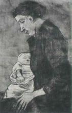 "Копия картины ""sien nursing baby, half-figure"" художника ""ван гог винсент"""