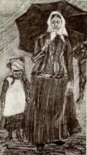 """Репродукция картины """"sien under umbrella with girl"""" художника """"ван гог винсент"""""""