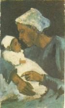 "Картина ""woman sien with baby on her lap, half-figure"" художника ""ван гог винсент"""