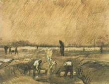"Картина ""churchyard in the rain"" художника ""ван гог винсент"""