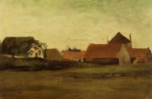 "Репродукция картины ""farmhouses in loosduinen near the hague at twilight"" художника ""ван гог винсент"""