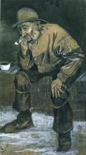 """Копия картины """"fisherman with sou'wester, sitting with pipe"""" художника """"ван гог винсент"""""""