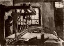 """Репродукция картины """"Interior with a Weaver Facing Right"""" художника """"Ван Гог Винсент"""""""