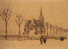 "Копия картины ""landscape with a church"" художника ""ван гог винсент"""