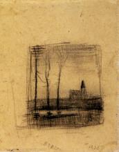 "Картина ""landscape with a church"" художника ""ван гог винсент"""