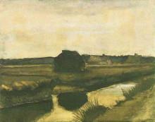 "Копия картины ""landscape with a stack of peat and farmhouses"" художника ""ван гог винсент"""