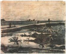 """Картина """"Landscape with Bog-Oak Trunks"""" художника """"Ван Гог Винсент"""""""
