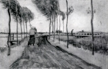 "Копия картины ""landscape with woman walking"" художника ""ван гог винсент"""