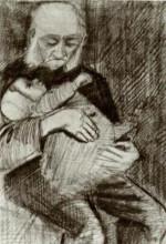 "Репродукция картины ""orphan man with a baby in his arms"" художника ""ван гог винсент"""