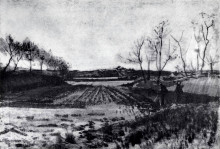 """Репродукция картины """"potato field behind the dunes"""" художника """"ван гог винсент"""""""
