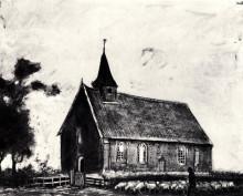 "Репродукция картины ""shepherd with flock near a little church at zweeloo"" художника ""ван гог винсент"""