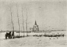 "Копия картины ""snowy landscape with the old tower"" художника ""ван гог винсент"""