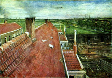 "Репродукция картины ""view from the window of vincent's studio in winter"" художника ""ван гог винсент"""