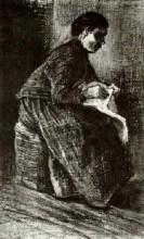 "Картина ""woman sitting on a basket, sewing"" художника ""ван гог винсент"""