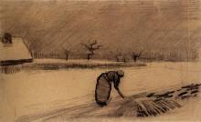"Репродукция картины ""woman with a fork in a winter landscape"" художника ""ван гог винсент"""