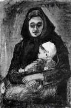 "Копия картины ""Woman with Baby on her Lap, Half-Length"" художника ""Ван Гог Винсент"""