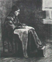 "Репродукция картины ""Woman with Shawl, Sewing"" художника ""Ван Гог Винсент"""