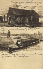 "Картина ""workman beside a mound of peat, and a peat boat with two figures"" художника ""ван гог винсент"""