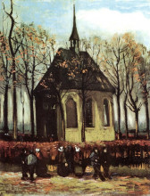 "Картина ""congregation leaving the reformed church in nuenen"" художника ""ван гог винсент"""