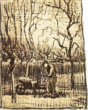 "Репродукция картины ""Gardener with a Wheelbarrow"" художника ""Ван Гог Винсент"""