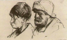 """Копия картины """"head of a girl, bareheaded, and head of a man with beard and cap"""" художника """"ван гог винсент"""""""