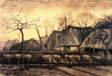"""Картина """"Houses with Thatched Roofs"""" художника """"Ван Гог Винсент"""""""