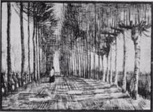 """Копия картины """"lane with trees and one figure"""" художника """"ван гог винсент"""""""