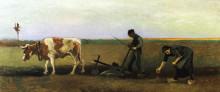 """Картина """"Ploughman with Woman Planting Potatoes"""" художника """"Ван Гог Винсент"""""""