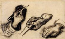"""Картина """"three hands, two with knives"""" художника """"ван гог винсент"""""""