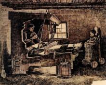 "Репродукция картины ""weaver, with a baby in a highchair"" художника ""ван гог винсент"""